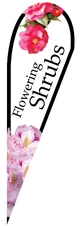 Flowering Shrubs Teardrop Feather Flag Double Sided with Ground Stake