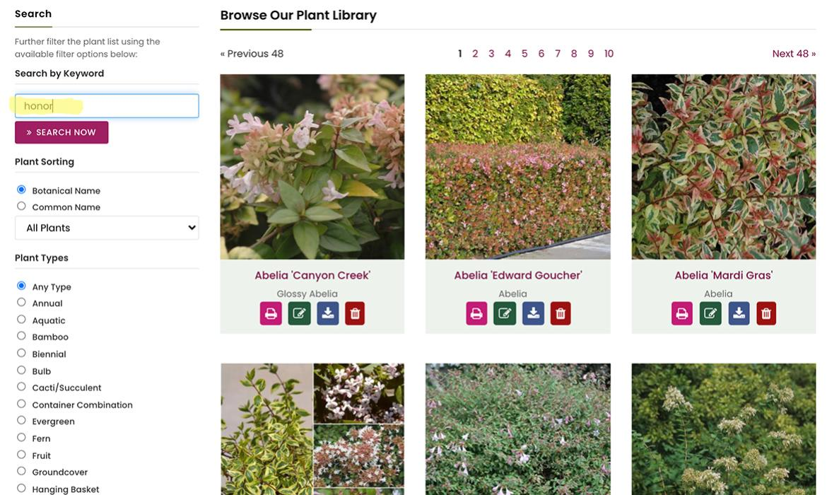 Plant Database Search Tips