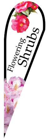 Flowering Shrubs Teardrop Flying Banner Single Sided with Ground Stake